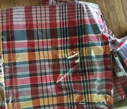 Pottery Barn Quinn Pillow Cover Red 24x24 Tartan Plaid Print Blue Yellow Accent  - $28.80