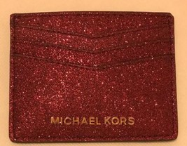 Michael Kors Credit Card Holder Red Glitter - $73.97