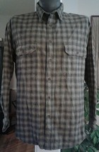 Mens Gray Black Plaid WOOLRICH Casual Flannel Shirt Button Front Cotton XL - $22.60