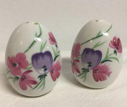 Vintage LEFTON White Porcelain Pink/Blue Floral Egg Shaped Salt & Pepper... - $10.50