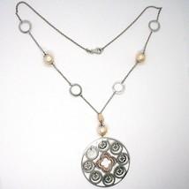 Collier Argent 925, Perles Rose, Médaillon Pendentif,Travaillé,Disque image 2