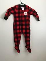 Carter's Zip Up Footie Pajamas No Slip Feet, Red & Black With Santa. NWT. - $9.74