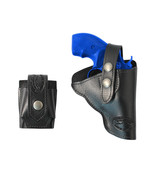"""New Black Leather OWB Holster + Speed-loader Pouch for Snub Nose 2"""" Revo... - $64.99"""