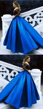 Black Lace Long Sleeves Prom Dresses Ball Gowns Off The Shoulder Evening Dresses - $179.00