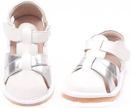 Toddler/Little Kids Close Toe Casual Outdoor Sandal White&Silver image 2
