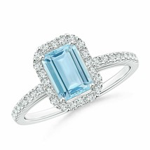Vintage Inspired 1.1tcw Emerald-Cut Aquamarine Halo Ring Gold/Platinum - $995.78+