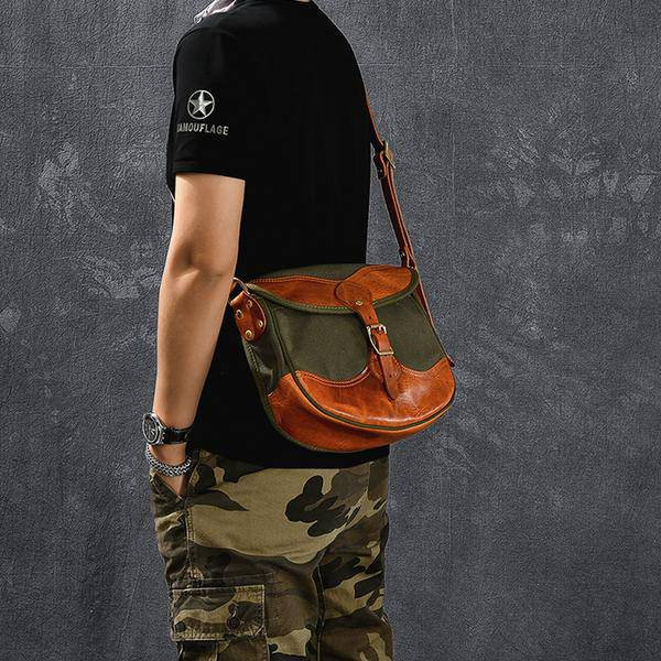 On Sale, Canvas With Vegetable Tanned Leather Messenger Bag, Shoulder Bag, Cross