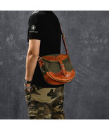 On Sale, Canvas With Vegetable Tanned Leather Messenger Bag, Shoulder Ba... - $165.00