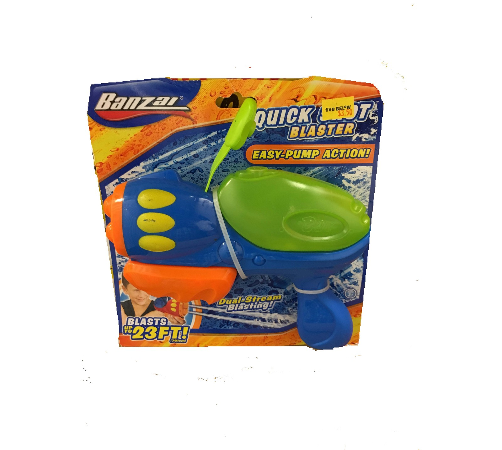 Primary image for BANZAI QUICK SHOT BLASTER EASY PUMP ACTION DUAL-STREAM BLASTING UP TO 23 FT
