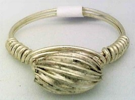 Corrugated Silver Bead Wire Wrap Ring sz.7 - $10.07