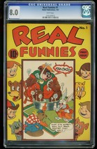 REAL FUNNIES #1-CGC 8.0-NEDOR-WHITE PAGES!-SOUTHERN STATES 1161203013 - $539.56