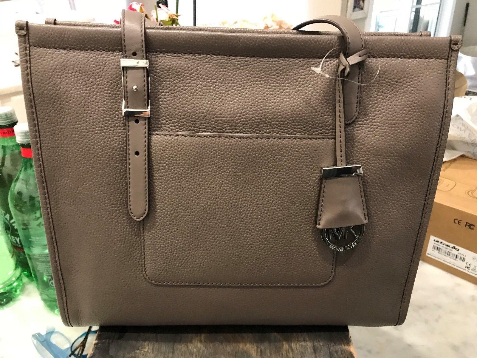 3009073bde497f ... Michael Kors Darien Medium Shoulder Tote Bag Pebbled Leather Cinder  (taupe grey) ...