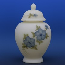 Fenton Art Glass Blue Dogwood on Cameo Satin c.1982 Covered Ginger Jar