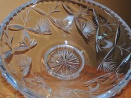 "Large Cut Crystal Bowl 9.75"" thumb cut edge & thistle pattern cut glass - $14.99"
