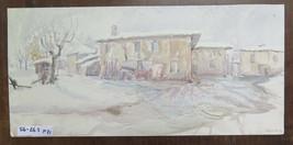 Painting Antique Painting To Watercolour landscape Winter Snowy Snow Cas... - $112.20