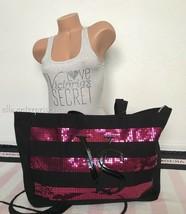 Victoria's Secret Black Friday 2014 Pink Sequin Bling Black Large Tote Bag - $39.59