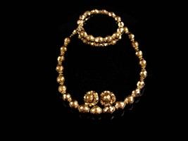 VIntage STUNNING 1940's  Parure Fired Gold Glass LES Bernard bracelet earrings n - $125.00