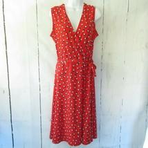 Leota Finnley Faux Wrap Dress L Large Red Polka Dot Midi Sleeveless Stit... - $18.50