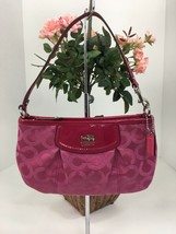 Coach Wristlet Bag 46638 Madison Op Art Strawberry Pink Large Clutch B15 - $59.39