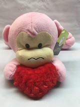 Animal Adventure Valentines Pink Monkey with Red  Heart plush Laying Down P1 - $9.89