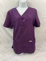 Cherokee Scrub Top Womens S Inspired Comfort Purple Short Sleeve Medical E1 - $13.16
