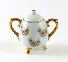 Enesco Vintage Miniature Pink Floral Sugar Bowl with Lid and Gold Trim - $10.88