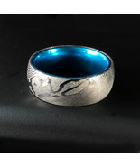 Damascus Steel/Mokume Gane Ring Blue/Green/Pink Plated Interior Wedding ... - $87.99
