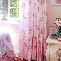 Pink Rose Shabby Chic Rose French Long Mermaid Ruffle Curtain - $63.23