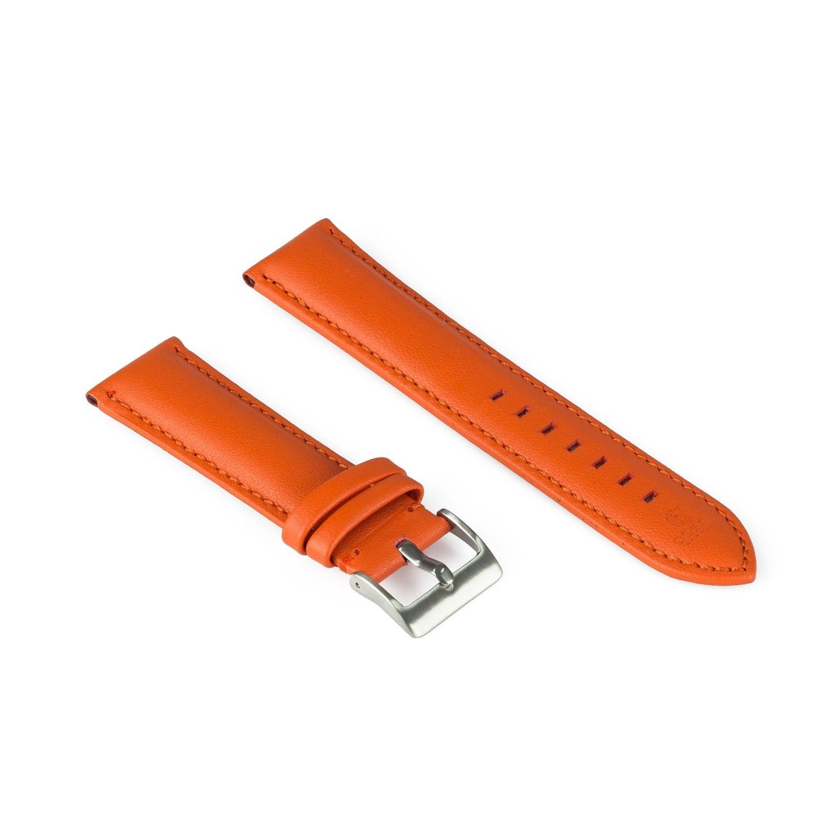 Hand Made Watch Leather Band Strap Orange - Padded and Hand Stitched Strap - 22m - $73.68