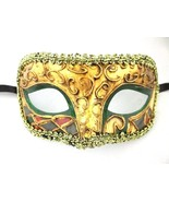 Green Gold Masquerade Mardi Gras New Years Ball Mask - $15.19
