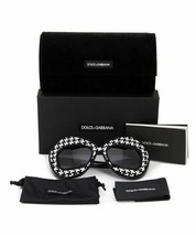 DOLCE & GABBANA LIMITED EDITION DG6108 501/8G Round Sunglasses BLACK WHT/GREY image 2