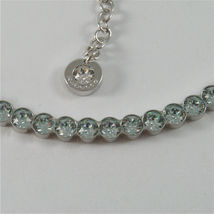 WHITE GOLD PLATED BRONZE REBECCA TENNIS NECKLACE BPBKBL14 MADE IN ITALY 18.90 IN image 3