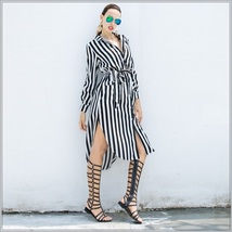 Black and White Striped Long Sleeve Button Up Maxi Beach Shirt With Belt image 2
