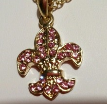 Cookie Lee Pink Crystal Fleu De Lis Pendant Goldtone Necklace - $11.39