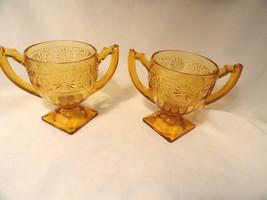 2 Amber Daisy Depression Glass Sugar Bowls Indiana No 620 - $4.99