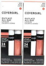 2 Covergirl 593 Nude Outlast 24hr All Day Colorcoat & Moisture Topcoat L... - $20.99