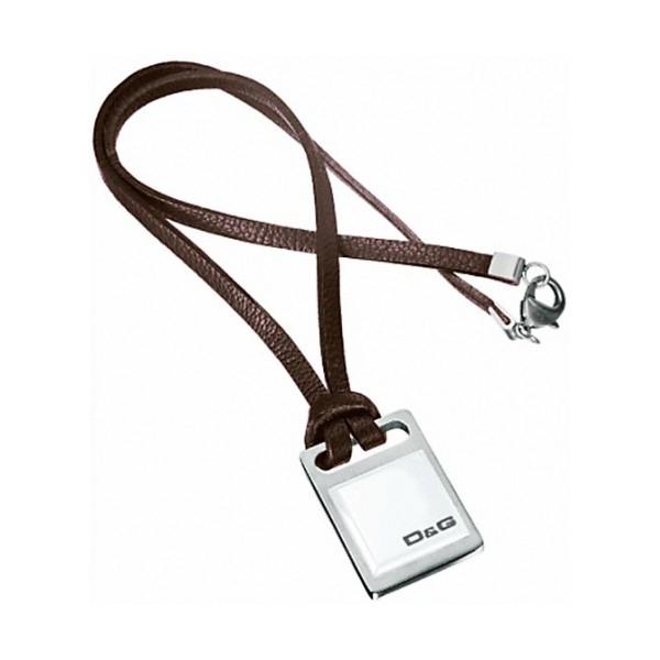 Dolce & Gabbana Brown & White Unisex Luxury Fashion Pendant (Steel & Leather)