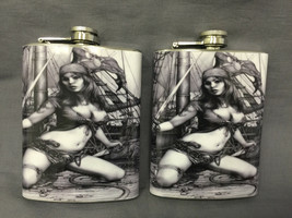 Set of 2 Pirate Pin Up Girl D 458 Flask 8oz Stainless Steel Hip Drinking... - $15.79