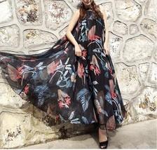 Sleeveless Plus Size Leopard Chiffon Dress Maxi Summer Beach Leopard Dresses image 9