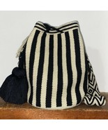 Authentic 100% Wayuu Mochila Colombian Bag Large Size Striped Neutral bl... - $86.00
