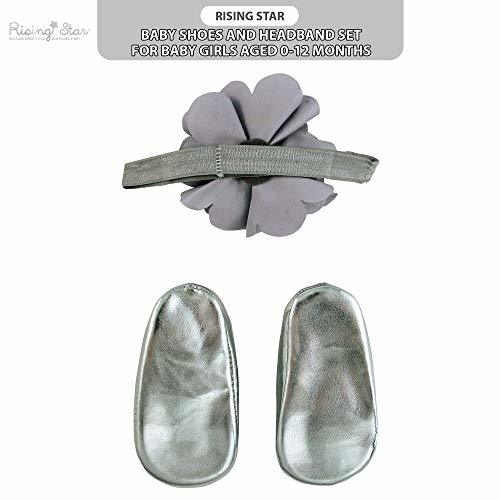 Rising Star Baby Girls' Shoes and Headband Gift (6 - 12 Months|Silver Flower) image 4