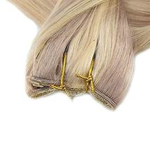 Fshine Halo Crown Extensions Remy Human Hair Color 18 And 613 Blonde Highlighted image 3