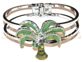Palm Tree Bangle Bracelet Green Crystal Multicolor Silver Tone Metal Tro... - $29.99