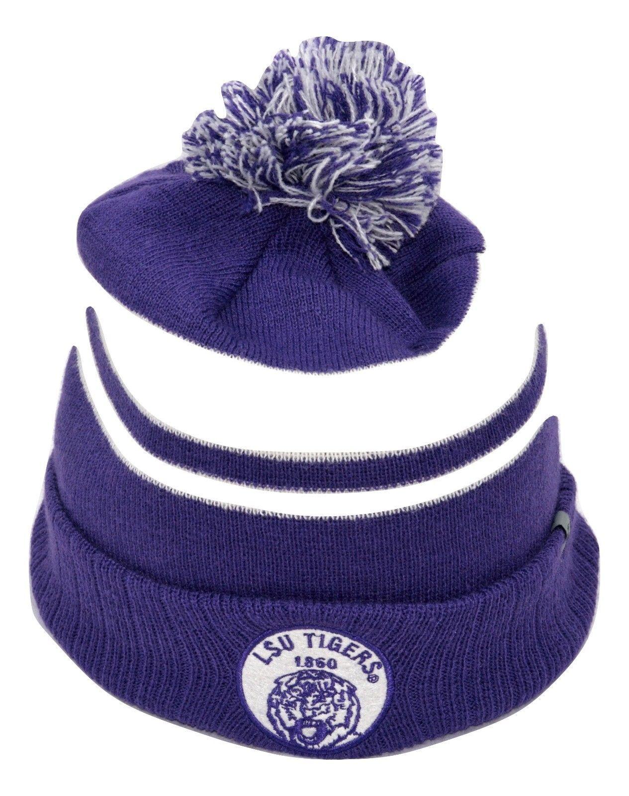 LSU Tigers TOW Agility NCAA Team Logo Pom Pom Knit Winter Hat Stocking Cap Toque - $16.14