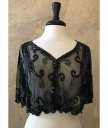 Black Sequin Beaded Bridal Cape Collar Wrap Shoulder Shrug Shawl Chiffon - $59.99