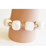 white wood beaded bracelet stretch glass clear chunky big bead fashion h... - $5.99