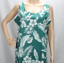 Hilo Hattie Long Large Hawaiian Dress Green White Scoop Neck Style 426 Aloha - $39.99