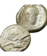 AMAZON nude Female Warrior Grapes Cilicia Soloi Ancient Greek Silver Sta... - $215.10