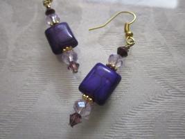 Handmade Purple Rectangle Howlite &  Pink Glass Crystal Bead Gold Tone E... - $5.70