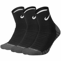 NIKE DRY CUSHION QUARTER DRI-FIT TRAINING SOCKS 3 PACK Black - $50.39
